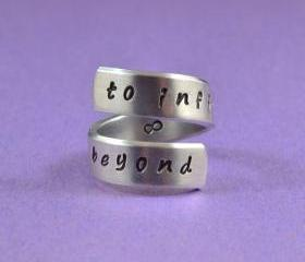 to infinity and beyond - Hand Stamped Spiral Ring, Pure Aluminum,Shiny, Skinny Band Ring, Handwritten Font