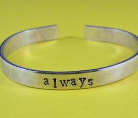 always - Cuff Bracelet, Hand Stamped, Pure Aluminum, Shiny, Skinny, Adjustable, Newsprint Font