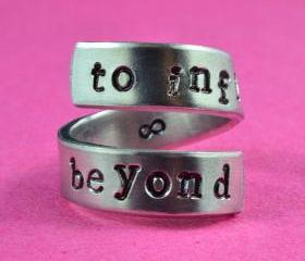 to infinity and beyond - Hand Stamped Spiral Ring, Pure Aluminum, Shiny, Skinny Band Ring, Newsprint Font